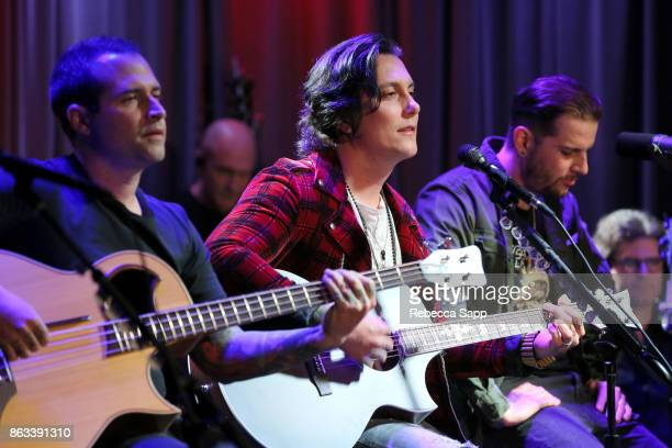 Johnny Christ Synyster Gates and M Shadows of Avenged Sevenfold perform at An Evening With Avenged Sevenfold at The GRAMMY Museum on October 19 2017...