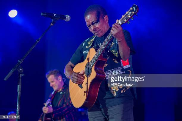 Johnny Clegg and Sipho Mchunu who formerly made up the band Juluka perform at Grandwest Arena on June 30 in Cape Town on the first live gig of...