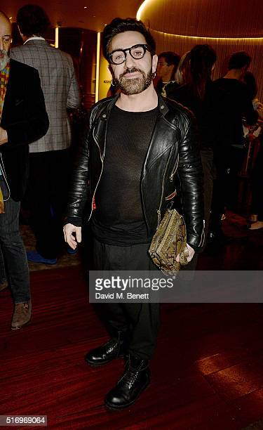 Johnny Coca attends the BFC/Vogue Designer Fashion Fund 2016 winners announcement at The Bulgari Hotel on March 22 2016 in London England