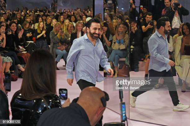 Johnny Coca bows on the runway at the Mulberry 'Beyond Heritage' SS18 Presentation during London Fashion Week February 2018 at Spencer House on...