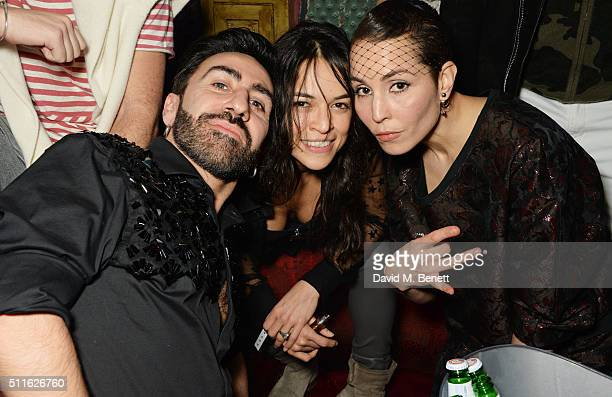 Johnny Coca Michelle Rodriguez and Noomi Rapace attend the Mulberry LFW Autumn/Winter 2016 Show After Party at The Box on February 21 2016 in London...