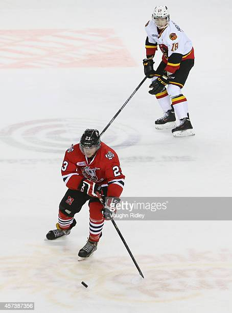 Johnny Corneil of the Niagara Ice Dogs skates up the ice during an OHL game against the Belleville Bulls at the Meridian Centre on October 16, 2014...