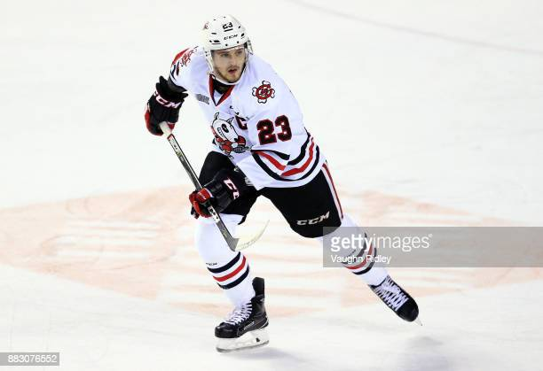 Johnny Corneil of the Niagara IceDogs skates during an OHL game against the Mississauga Steelheads at the Meridian Centre on November 25 2017 in St...