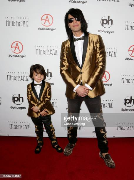 Johnny Crisstopher Sarantakos and his dad illusionist Criss Angel attend the grand opening of Criss Angel MINDFREAK at Planet Hollywood Resort Casino...