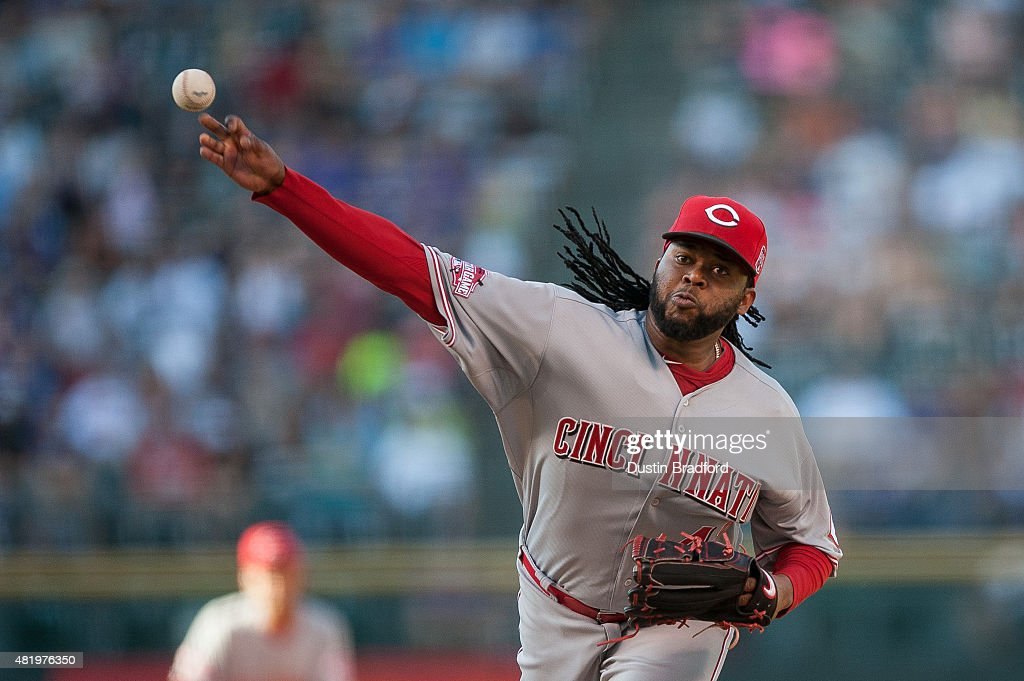 Johnny Cueto #47 of the Cincinnati Reds pitches against the Colorado Rockies in the first inning of a game at Coors Field on July 25, 2015 in Denver, Colorado.