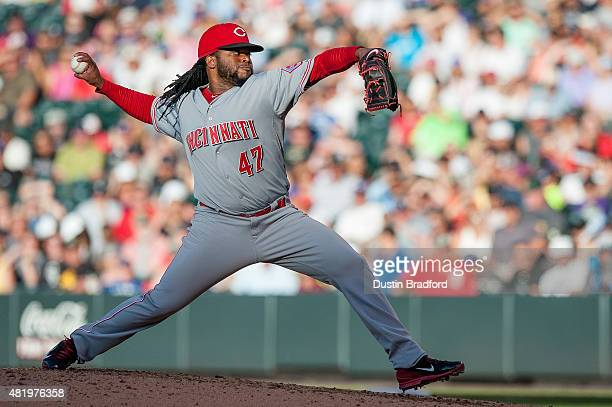 Johnny Cueto of the Cincinnati Reds pitches against the Colorado Rockies in the second inning of a game at Coors Field on July 25 2015 in Denver...