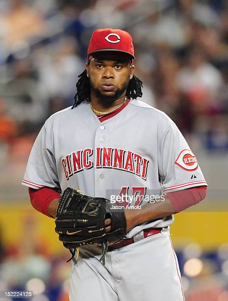 Johnny Cueto of the Cincinnati Reds pitches against the Miami Marlins at Marlins Park on September 15 2012 in Miami Florida
