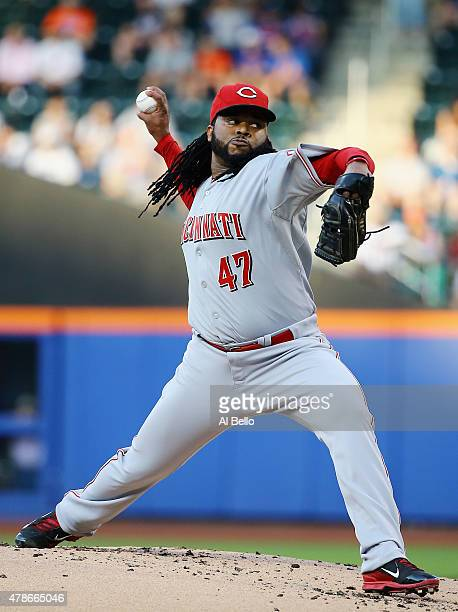 Johnny Cueto of the Cincinnati Reds pitches against the New York Mets during their game at Citi Field on June 26 2015 in New York City