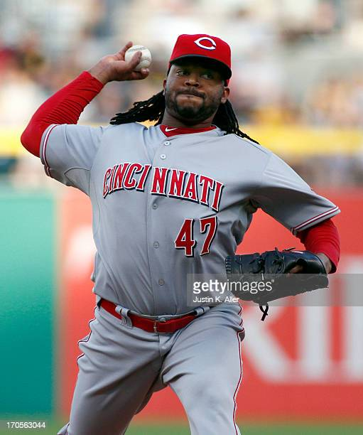 Johnny Cueto of the Cincinnati Reds pitches against the Pittsburgh Pirates during the game on May 31 2013 at PNC Park in Pittsburgh Pennsylvania
