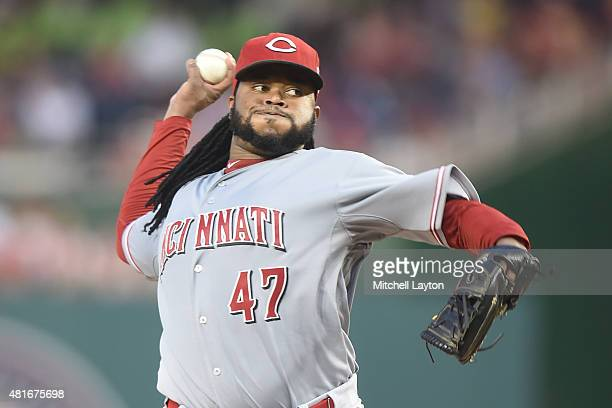Johnny Cueto of the Cincinnati Reds pitches during a baseball game against the Washington Nationals at Nationals Park on July 07 2015 in Washington...