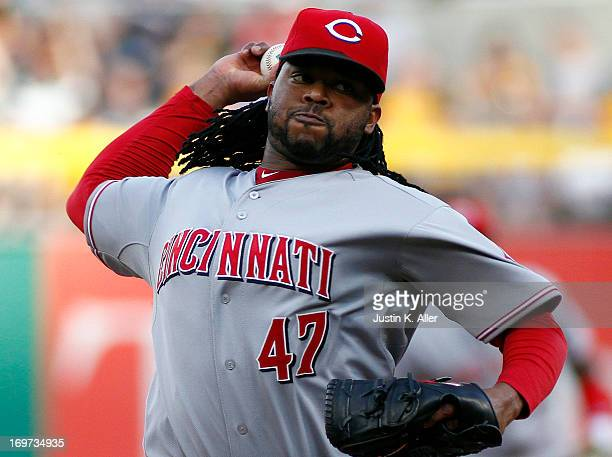 Johnny Cueto of the Cincinnati Reds pitches in the first inning against the Pittsburgh Pirates during the game on May 31 2013 at PNC Park in...