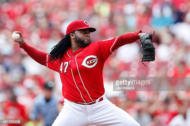 Johnny Cueto of the Cincinnati Reds pitches in the first inning against the Cleveland Indians at Great American Ball Park on July 19 2015 in...