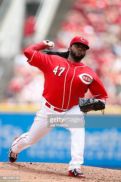 Johnny Cueto of the Cincinnati Reds pitches in the second inning against the Cleveland Indians at Great American Ball Park on July 19 2015 in...