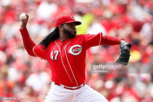 Johnny Cueto of the Cincinnati Reds pitches in the third inning against the Minnesota Twins at Great American Ball Park on July 1 2015 in Cincinnati...