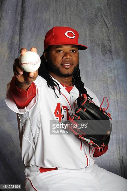 Johnny Cueto of the Cincinnati Reds poses for a portrait during Photo Day on February 26 2015 at Goodyear Ballpark in Goodyear Arizona