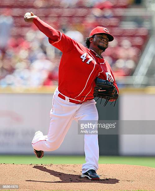Johnny Cueto of the Cincinnati Reds throws a pitch against the New York Mets during the game on May 5 2010 at Great American Ballpark in Cincinnati...