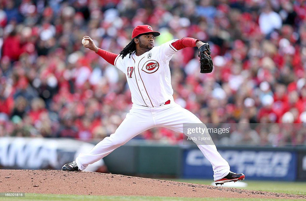 Johnny Cueto #47 of the Cincinnati Reds throws a pitch during the game against the Los Angeles Angels of Anaheim at Great American Ball Park on April 1, 2013 in Cincinnati, Ohio.