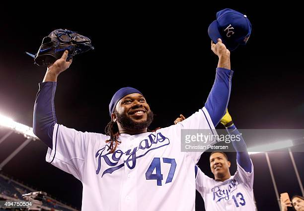 Johnny Cueto of the Kansas City Royals celebrates defeating the New York Mets 7-1 in Game Two of the 2015 World Series at Kauffman Stadium on October...