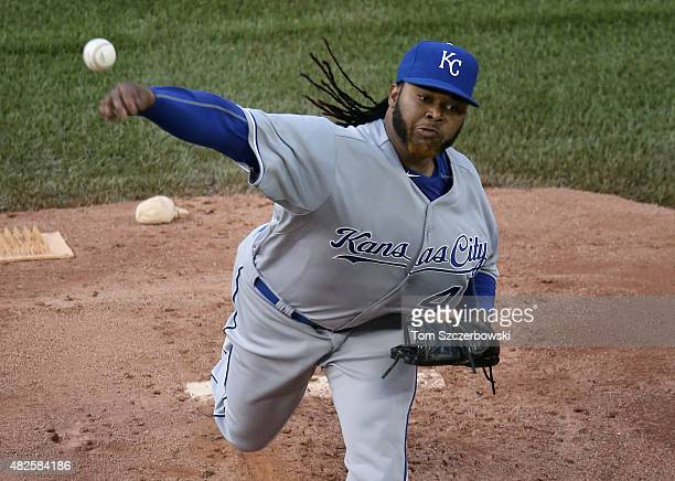 Johnny Cueto of the Kansas City Royals delivers a pitch in the first inning during MLB game action against the Toronto Blue Jays on July 31 2015 at...