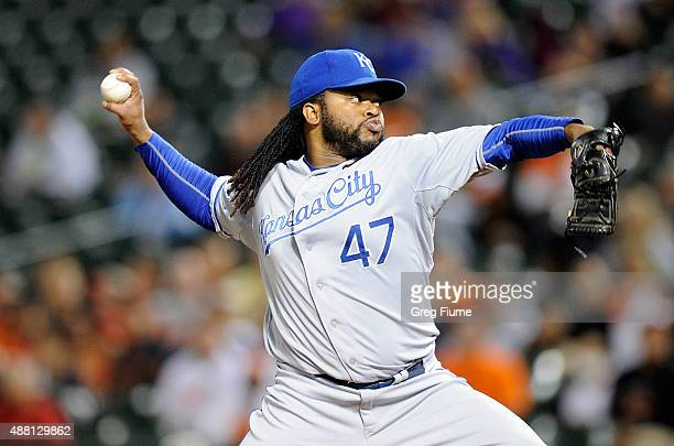 Johnny Cueto of the Kansas City Royals pitches in the first inning against the Baltimore Orioles at Oriole Park at Camden Yards on September 13 2015...