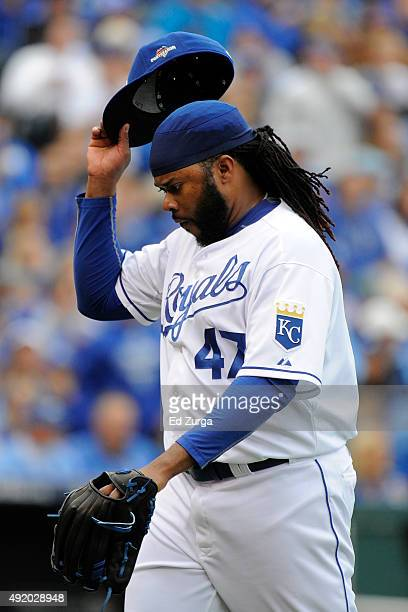 Johnny Cueto of the Kansas City Royals reacts as he walks back to the dugout after the third inning against the Houston Astros during game two of the...