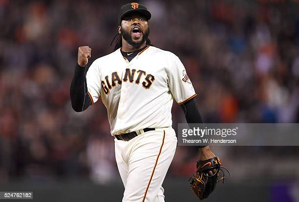 Johnny Cueto of the San Francisco Giants celebrates after pitching a complete game 10 shutout against the San Diego Padres at ATT Park on April 26...