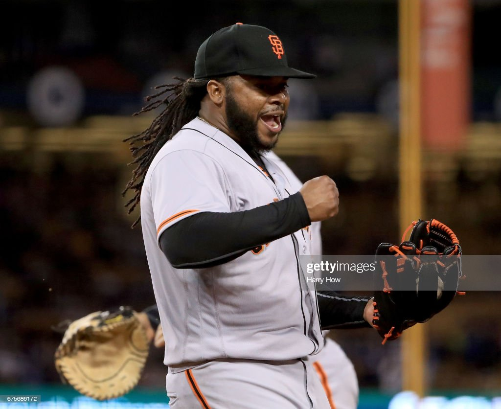Johnny Cueto #47 of the San Francisco Giants celebrates the third out of the eighth inning on Andrew Toles #60 of the Los Angeles Dodgers at Dodger Stadium on May 1, 2017 in Los Angeles, California.
