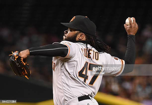 Johnny Cueto of the San Francisco Giants delivers a pitch during the first inning against the Arizona Diamondbacks at Chase Field on July 1 2016 in...