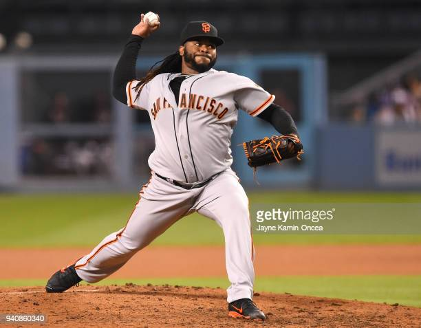 Johnny Cueto of the San Francisco Giants in the game against the Los Angeles Dodgers at Dodger Stadium on March 30 2018 in Los Angeles California