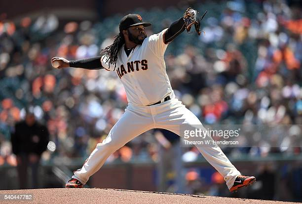 Johnny Cueto of the San Francisco Giants pitches against the Milwaukee Brewers in the top of the first inning at ATT Park on June 15 2016 in San...