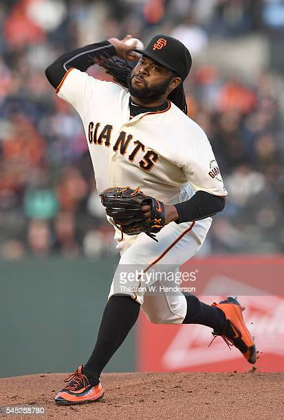 Johnny Cueto of the San Francisco Giants pitches against the Colorado Rockies in the top of the first inning at ATT Park on July 6 2016 in San...