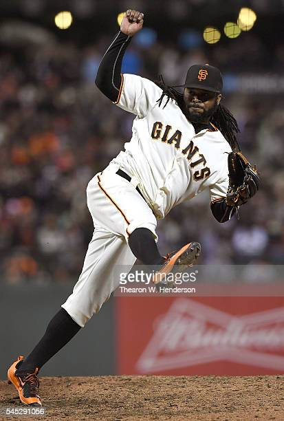 Johnny Cueto of the San Francisco Giants pitches against the Colorado Rockies in the top of the eighth inning at ATT Park on July 6 2016 in San...