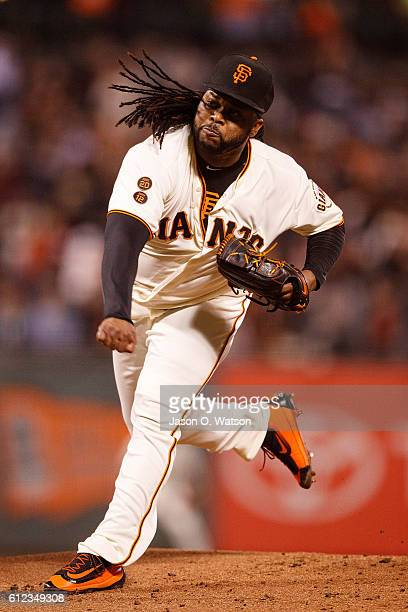 Johnny Cueto of the San Francisco Giants pitches against the Colorado Rockies during the first inning at ATT Park on September 29 2016 in San...