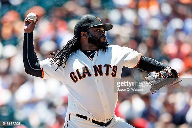 Johnny Cueto of the San Francisco Giants pitches against the Philadelphia Phillies during the first inning at ATT Park on June 26 2016 in San...