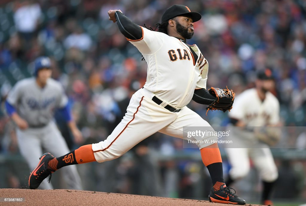 Johnny Cueto #47 of the San Francisco Giants pitches against the Los Angeles Dodgers in the top of the first inning at AT&T Park on April 26, 2017 in San Francisco, California.