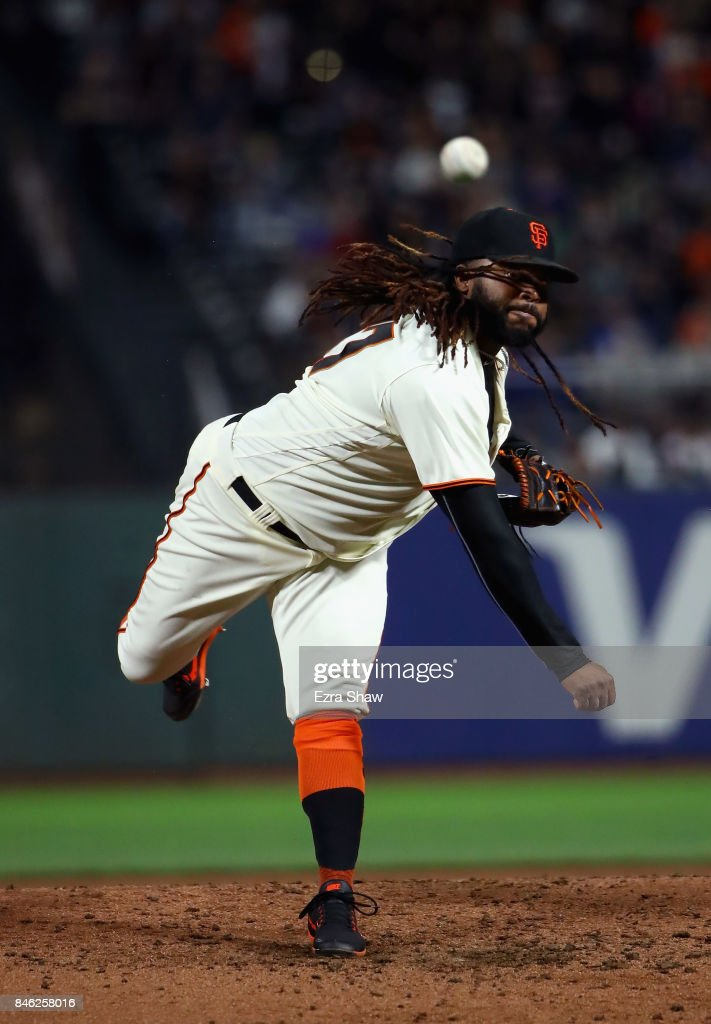 Johnny Cueto #47 of the San Francisco Giants pitches against the Los Angeles Dodgers in the third inning at AT&T Park on September 12, 2017 in San Francisco, California.