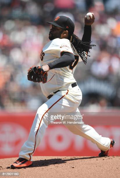 Johnny Cueto of the San Francisco Giants pitches against the Miami Marlins in the top of the first inning at ATT Park on July 9 2017 in San Francisco...