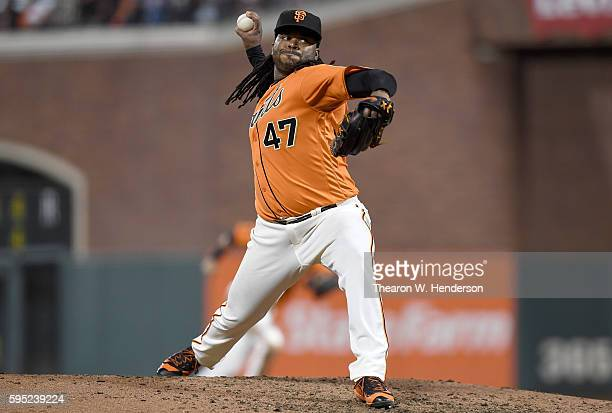 Johnny Cueto of the San Francisco Giants pitches against the New York Mets in the top of the fifth inning at ATT Park on August 19 2016 in San...