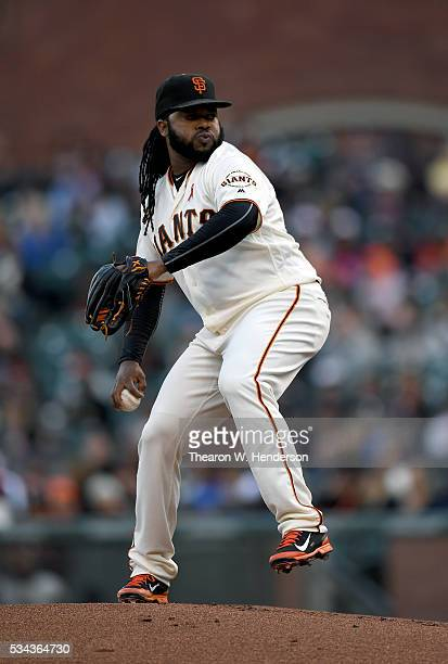 Johnny Cueto of the San Francisco Giants pitches against the San Diego Padres in the top of the first inning at ATT Park on May 23 2016 in San...