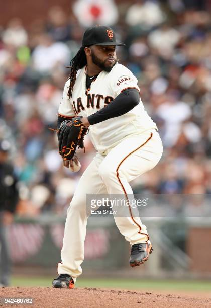 Johnny Cueto of the San Francisco Giants pitches against the Seattle Mariners at ATT Park on April 4 2018 in San Francisco California