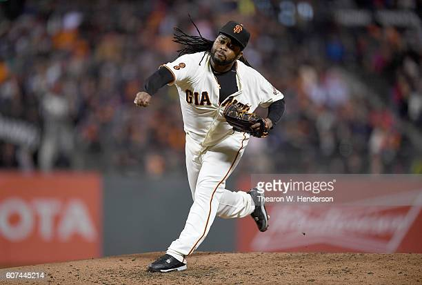 Johnny Cueto of the San Francisco Giants pitches against the St Louis Cardinals in the top of the third inning at ATT Park on September 15 2016 in...
