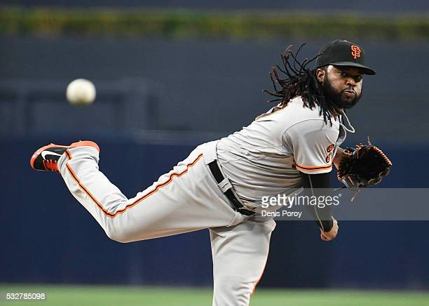 Johnny Cueto of the San Francisco Giants pitches during the first inning of a baseball game against the San Diego Padres at PETCO Park on May 18 2016...