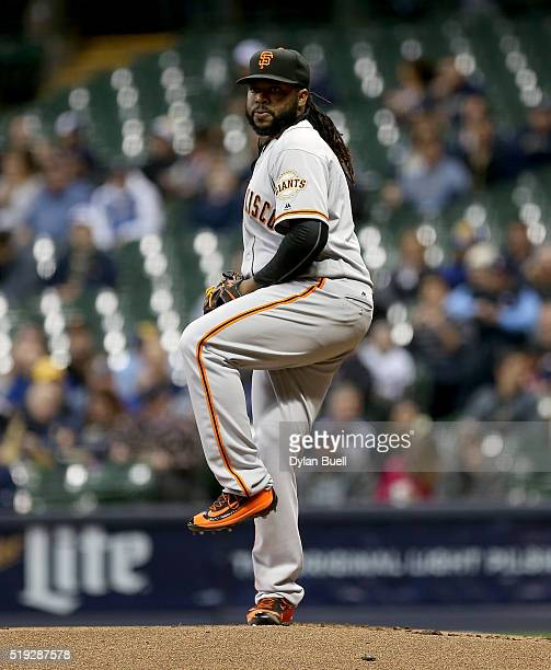 Johnny Cueto of the San Francisco Giants pitches during the first inning against the Milwaukee Brewers during the game at Miller Park April 5 2016 in...