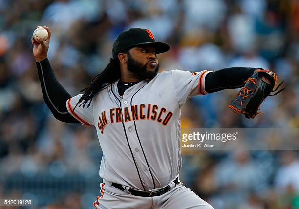 Johnny Cueto of the San Francisco Giants pitches in the first inning during the game against the Pittsburgh Pirates at PNC Park on June 21 2016 in...