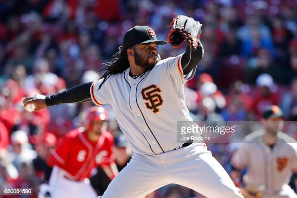 Johnny Cueto of the San Francisco Giants pitches in the first inning of a game against the Cincinnati Reds at Great American Ball Park on May 7 2017...