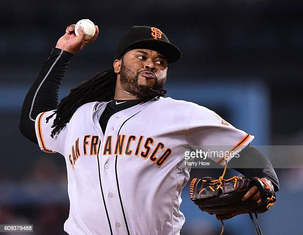 Johnny Cueto of the San Francisco Giants pitches to the Los Angeles Dodgers during the first inning at Dodger Stadium on September 20 2016 in Los...
