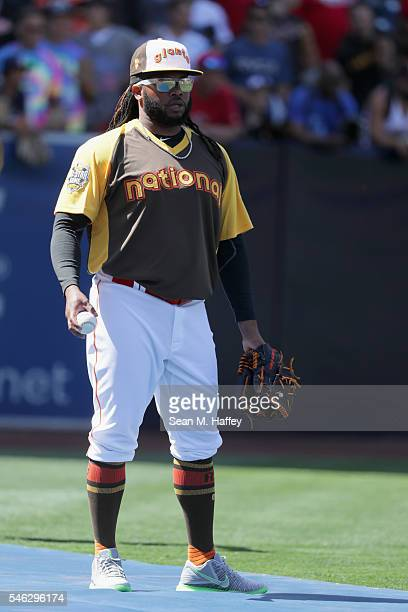 Johnny Cueto of the San Francisco Giants warms up during Gatorade AllStar Workout Day for the 87th Annual MLB AllStar game at PETCO Park on July 11...
