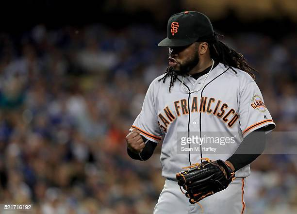 Johnny Cueto of the the San Francisco Giants reacts to an out during the fifth inning of a game against the Los Angeles Dodgers at Dodger Stadium on...