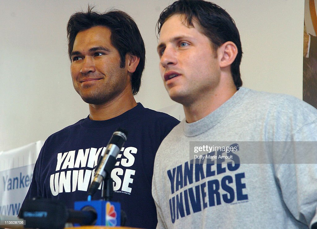 Johnny Damon and Bubba Crosby Attend the Celebration of Yankees Universe Day - May 16, 2006 : News Photo