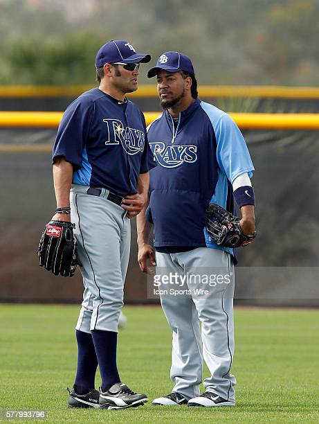 Johnny Damon and Manny Ramirez stand alone during the Rays spring training work out at the Charlotte Sports Park in Port Charlotte Florida